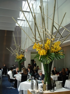 Bamboo and flower arrangement at the Modern